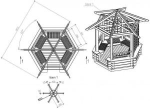 Схема шестигранной беседки