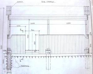 Схема прямоугольной беседки: вид спереди