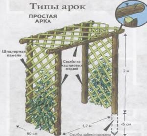Схема перголы из каштановых жердей
