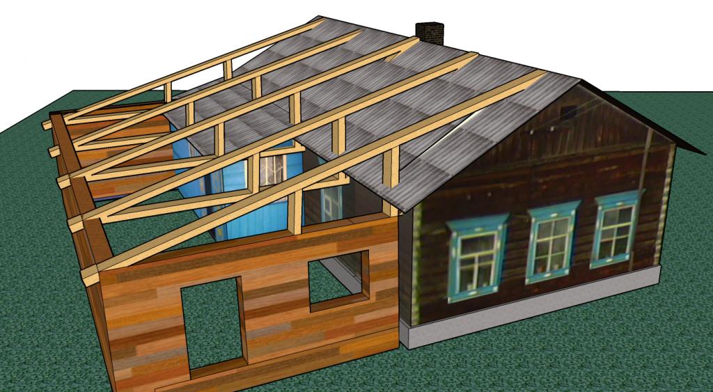 Как сделать крышу к пристройке к дому