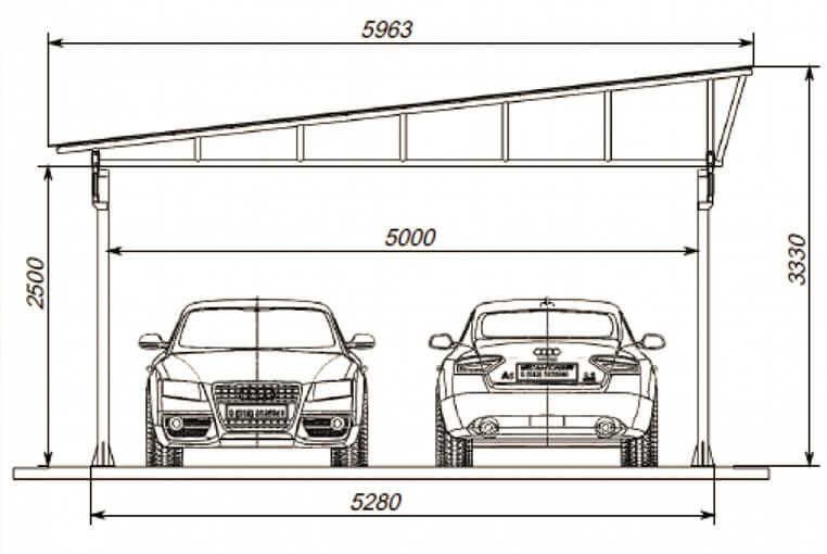 Cтроительство навеса для автомобиля
