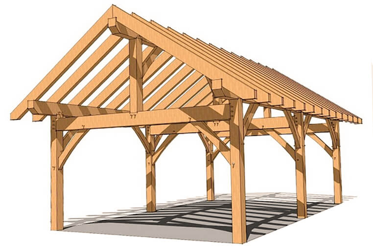 Проект каркаса из дерева для навеса с скатной крышей
