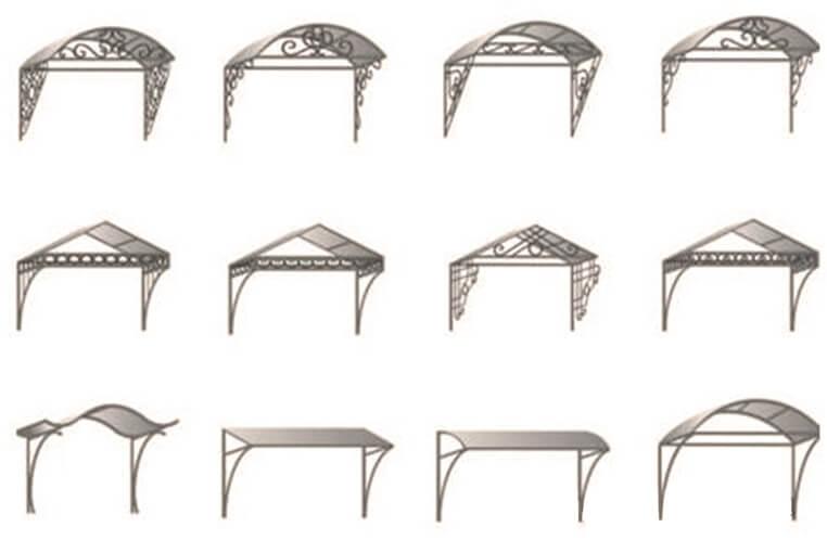 Разновидности форм навесов