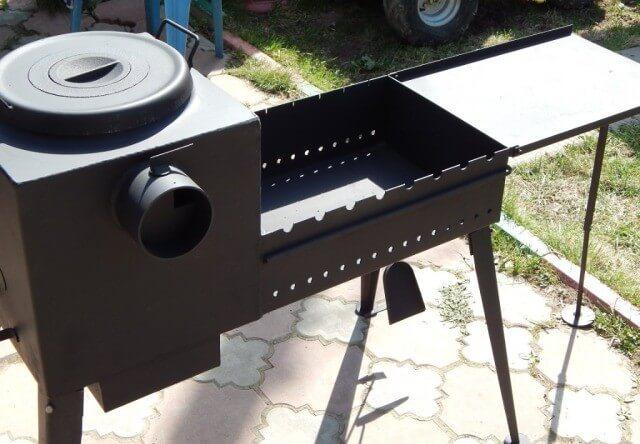 Печь под казан с мангалом из металла своими руками 47